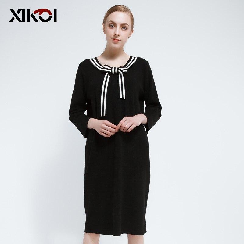 2017 vêtement tricoté solides pulls pulls col en v longue robe pull décontracté mode tricoté robes chandails
