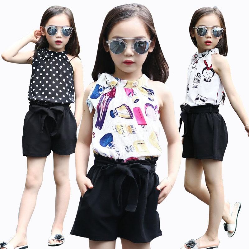 Girls Summer Chiffon Set Girls Cartoon Sling Clothing Set 2018 Polka Dot Set 2Pcs T shirt Pants Kids Clothes For 4 6 8 10 12 Y