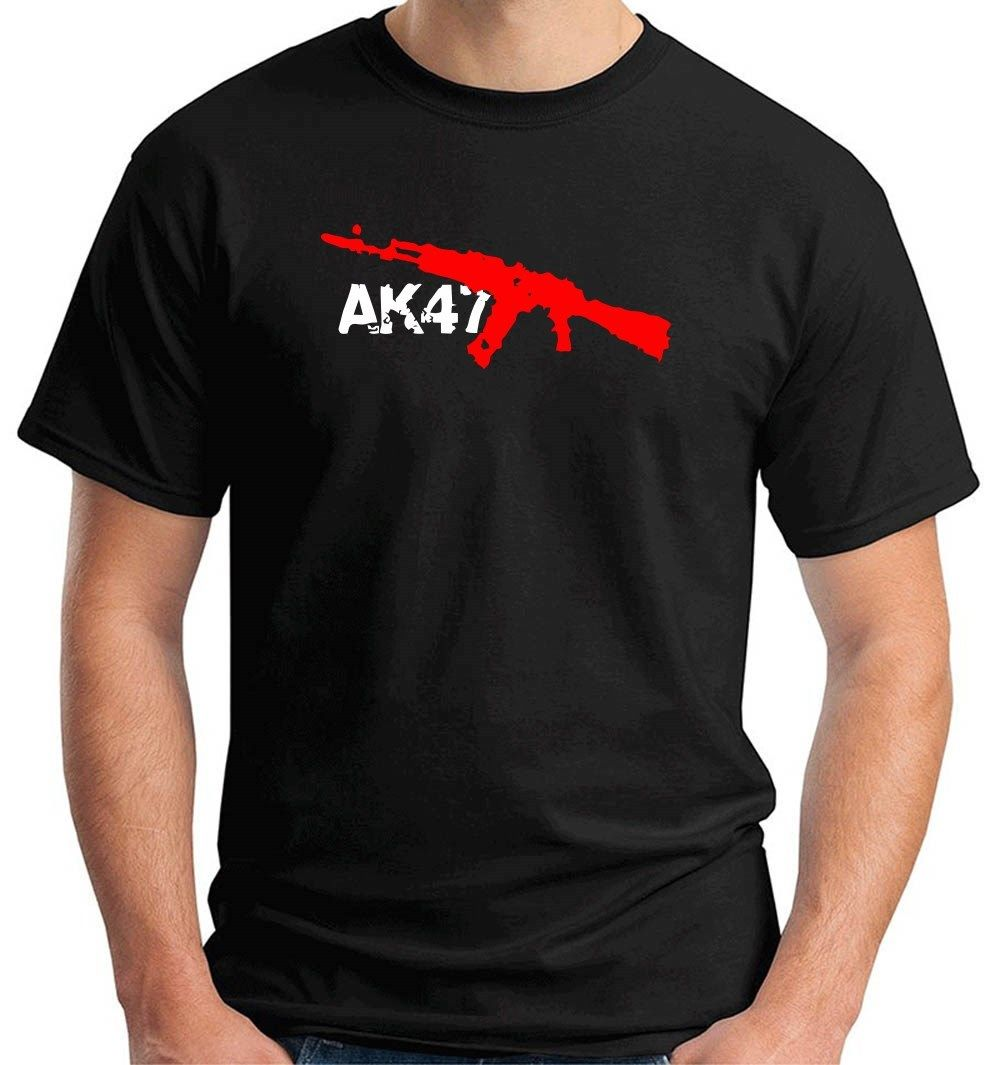 T-shirts Tops & Tees Hot Sale Brand New Fashion Summer Men Brand Clothing Summer Tops Hip Hop Uomo Ak47 Ak-47 Fucile Arma Ak 47dress T-shirt Can Be Repeatedly Remolded.