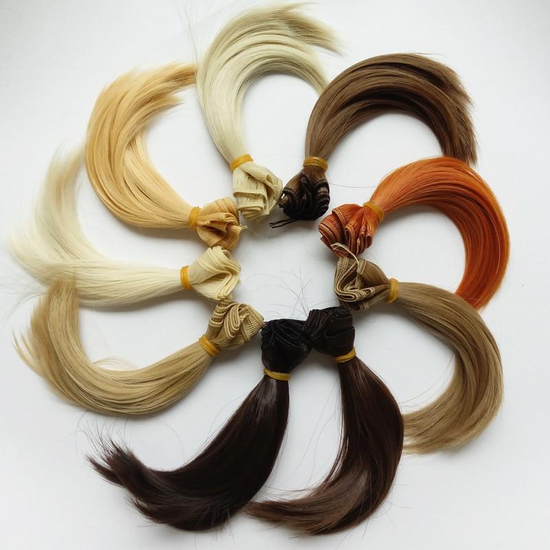 5 pcs / lot poupées accessoires nouvelle poupée synthétique cheveux 15cm perruque cheveux pour 1/3 1/4 bjd bricolage