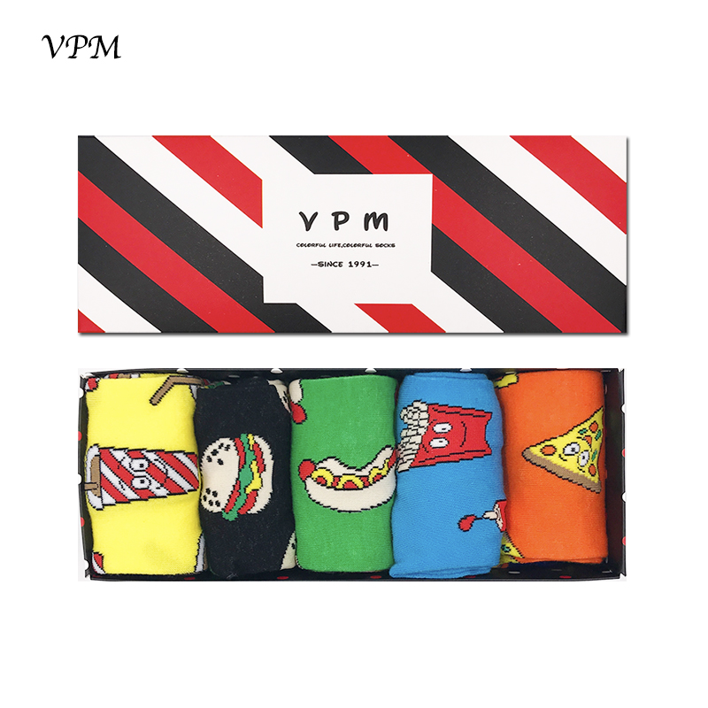 VPM 5Pair/Lot Men&Women's Dress Socks Big Size 85% Combed Cotton Cartoon Food Happy Harajuku Funny Sock Best Gift Box