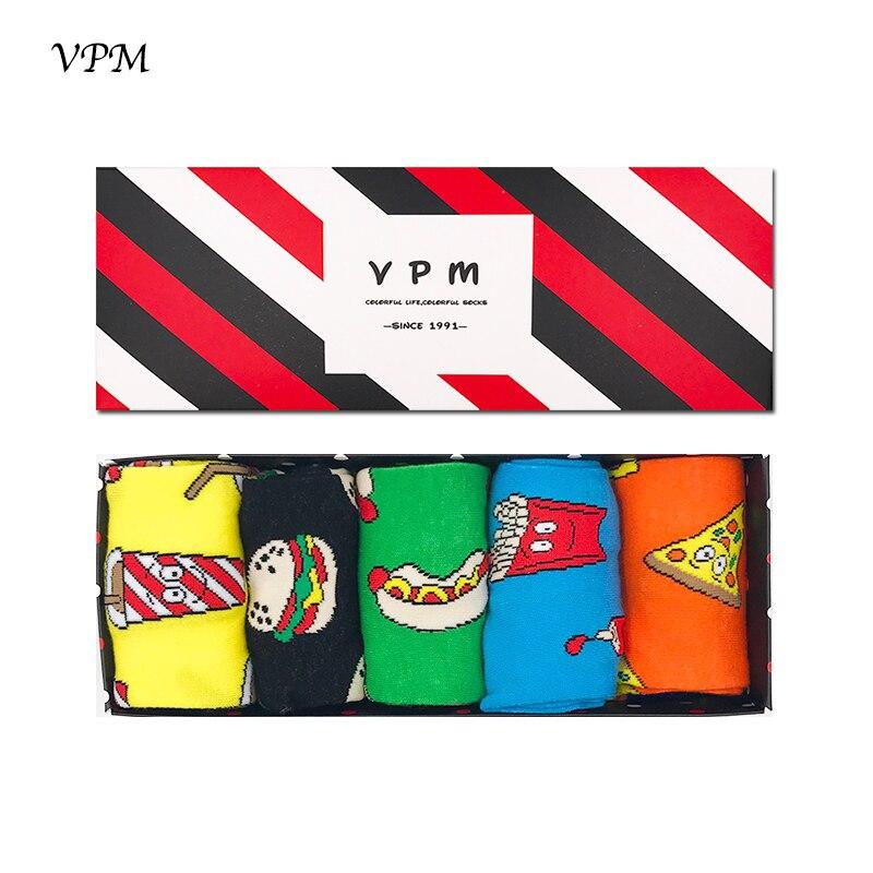 VPM 5Pair/Lot Men&Women's Dress   Socks   Big Size 85% Combed Cotton Cartoon Food Happy Harajuku Funny   Sock   Best Gift Box