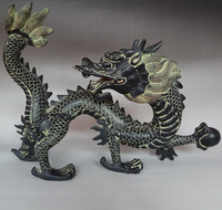 Chinese Antique Imitation Lucky Big Dragon Statue Animal Tabletop Home Decoration Beautiful Collection for Fortune Mascot
