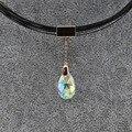 Trinketsea moda rose banhado a ouro elegante choker collar colar de jóias azul strass pingente de fio de corda de plástico no pescoço