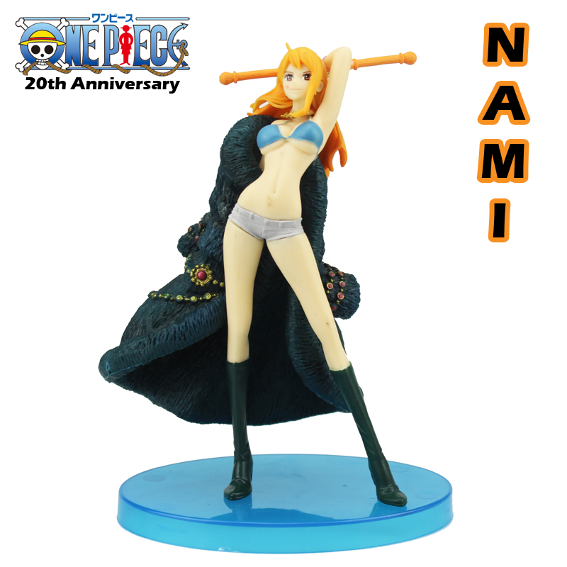 Free Shipping 7.5 One Piece Anime Nami 20th Anniversary Ichiban Kuji D Blue Boxed 19cm PVC Action Figure Model Doll Toys Gift anime one piece dracula mihawk model garage kit pvc action figure classic collection toy doll