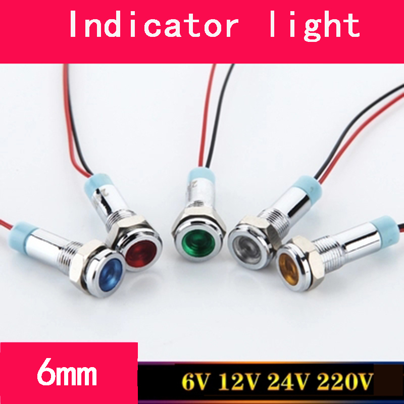 LED 6mm Small Size Metal Indicator Light Waterproof Signal Lamp 3V 6V 12V 24V With Wire And LED Light Five Colors