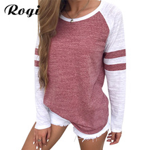 Rogi Fashion Stripe Patchwork Women Blouse 5XL 2018 Female Long Sleeve Casual Shirt Women Casual O-Neck Pullovers Plus Size Tops