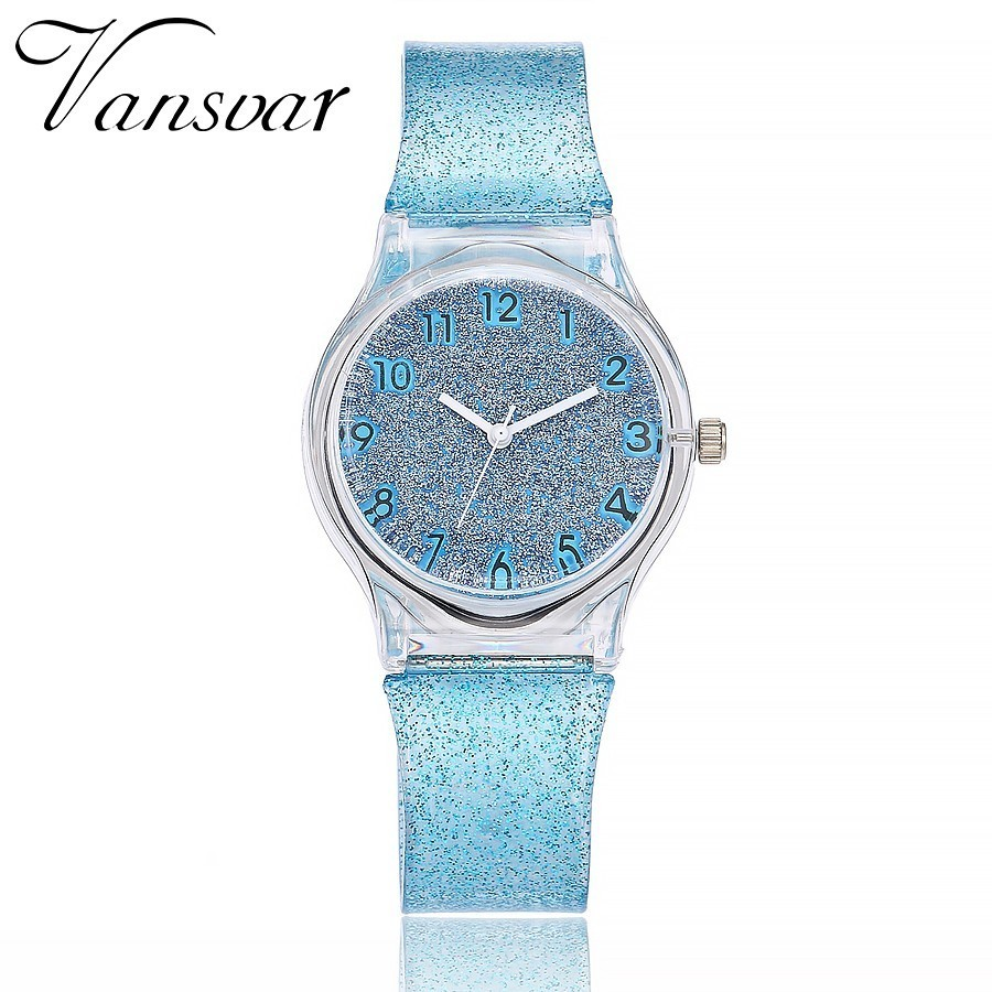 Vansvar Fashion Jelly Silicone Transparent Plastic Women Dress Watches Lovely Cute Unique Ladies Watch Drop Shipping Hot ...