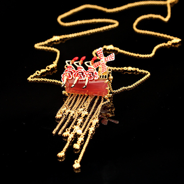 France LES Nereides New Arrivals Enamel Glaze Ballet Mother Windmill Starlight Tassels Sweater Chain Necklace Women Jewelry