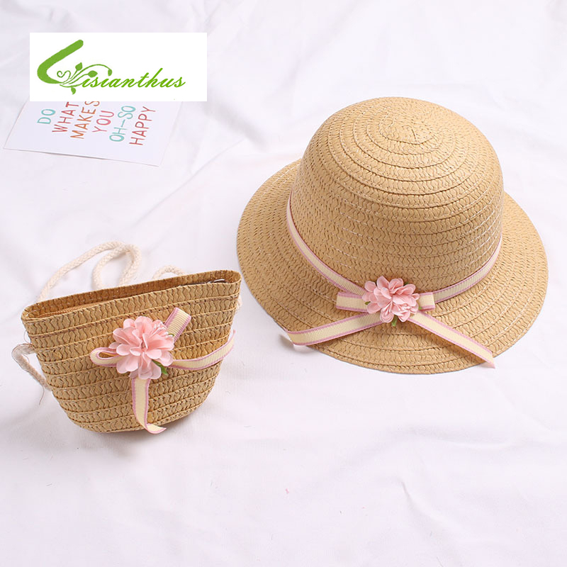 2pcs Cute Charm Princess Little Girl Straw Hat and Flower decoration Handbag