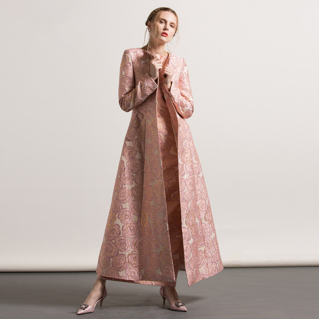 s 4xl plus size autumn winter jacquard embroidery long coat 2017