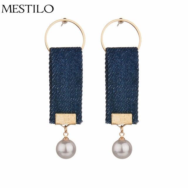34f5d959a MESTILO Statement Drop Earrings For Women Simulated Pearl Denim Earring  Summer Style Ladies Korean Earring Bijouterie Jewelry