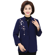 WAEOLSA Middle Aged Women's Elegant Blazers Flower Blue Purple Jacket Suit Woman Mandarin Collar Blazers Chinese Style Suit Coat