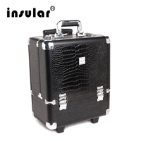 Профессиональный алюминиевый чемодан для макияжа на колесах с замком алюминиевый косметический чемодан