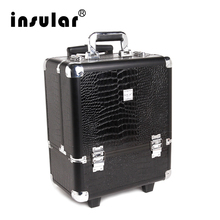 2016 New Arrival Shipping Free Professional Aluminum Makeup Trolley Case With Padlock  Aluminum Cosmetic Case