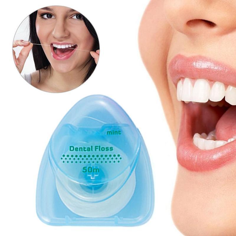 1PCS Dental Floss 50 meter 54 Yard Wire Floss Dental Mint Flavor Floss Pick Dental Flosser Interdental Brush Tooth Pick Stick