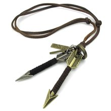 Jewelry Men Women Necklace, Adjustable Sizes Cups Arrow Cross Alloy Pendant with Leather Necklace, Brown