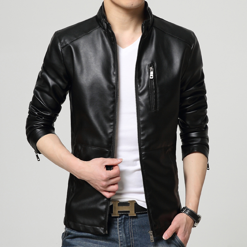 2018 new winter mens casual zipper leather jacket / Mens collar high-quality leather pu coat clothing