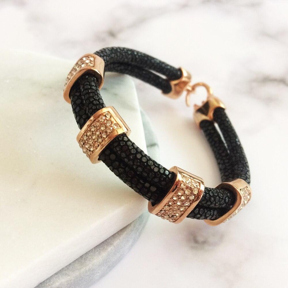 Nouveauté Bracelet en cuir Stingray marron véritable 5mm bracelet en cristal stingray pour hommes et femmes