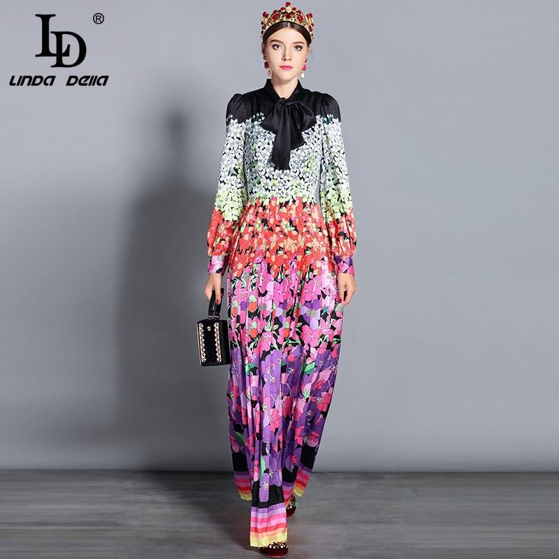 LD LINDA DELLA 2019 New Fashion Runway Maxi Dresses Women's Long Sleeve Bow Collar Vintage Floral Printed Vacation Long Dress