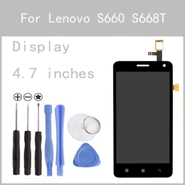 Display lcd original para lenovo s660 s668t substituição da tela do painel de vidro digitador da tela de toque de 4.7 polegada freetools