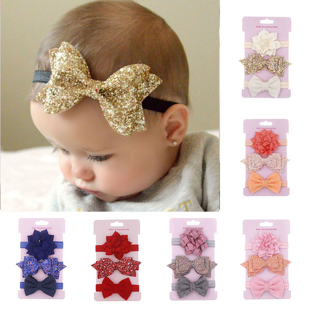 523733e056fd 3Pcs/set Glitter Bows Flower Baby Headband Newborn Enfant Haarband Baby  Girl Headbands Princess Hair