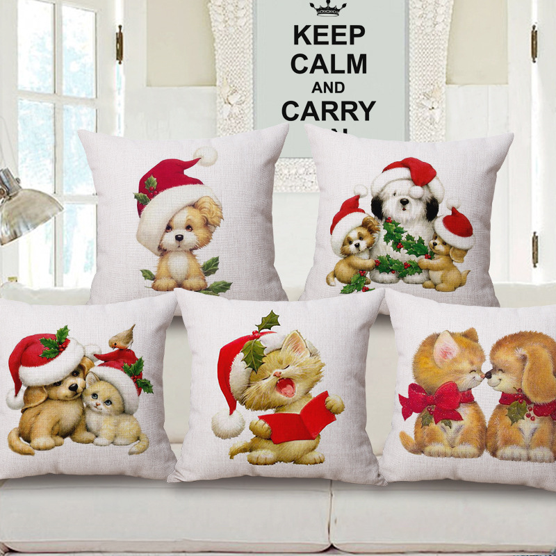 Animal Sery Franch Bulldog Cushion Cover Christmas Decoration for Home Vintage Bull Terrier Pillowcase Scandinavian Cover PC364