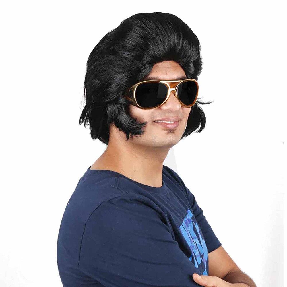 Ingrassatore Rock N Roll Capelli Uomini Quiff Partito Pompadour Ingrassatore Rockabilly 50 s Elvis Presley Sintetico Capelli Corti Costume Accessori