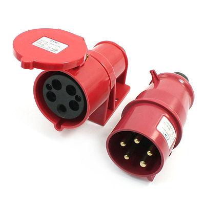 Waterproof IEC309-2 3P+E+N Industrial Plug Socket Red AC 380-415V 32Amp iec309 2 panel mount 2p e ip44 blue white industrial socket ac 220v 250v 32a