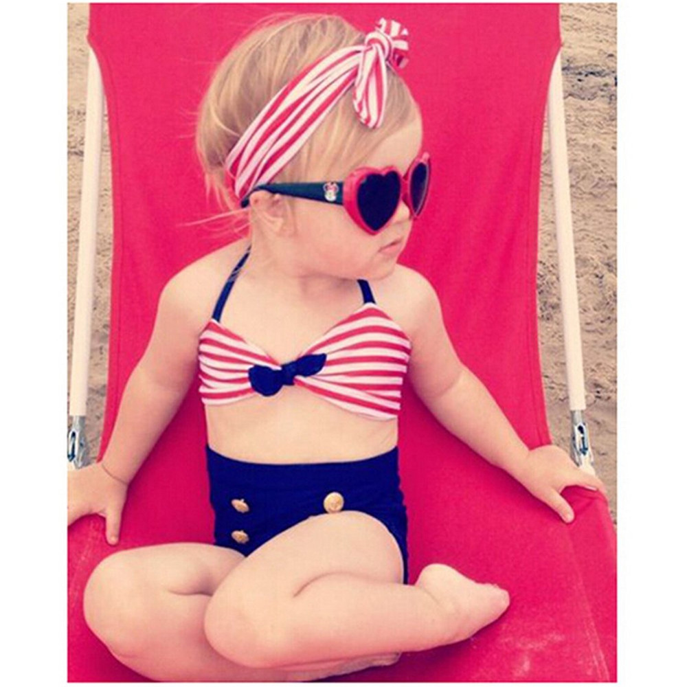 2018Baby Set Kids Baby Meisje Streep Badpak Badmode 3 STKS Rood - Babykleding - Foto 1