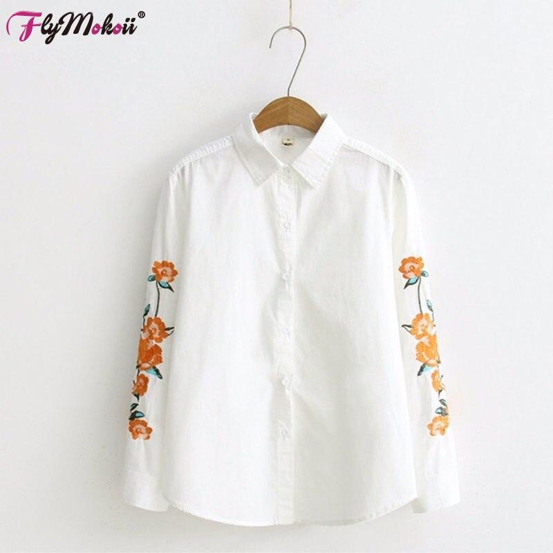 2019 New Cotton Casual Turn-down límec s dlouhým rukávem bílé ženy Čínský květ výšivka halenka ženské pracovní košile Kancelářské topy