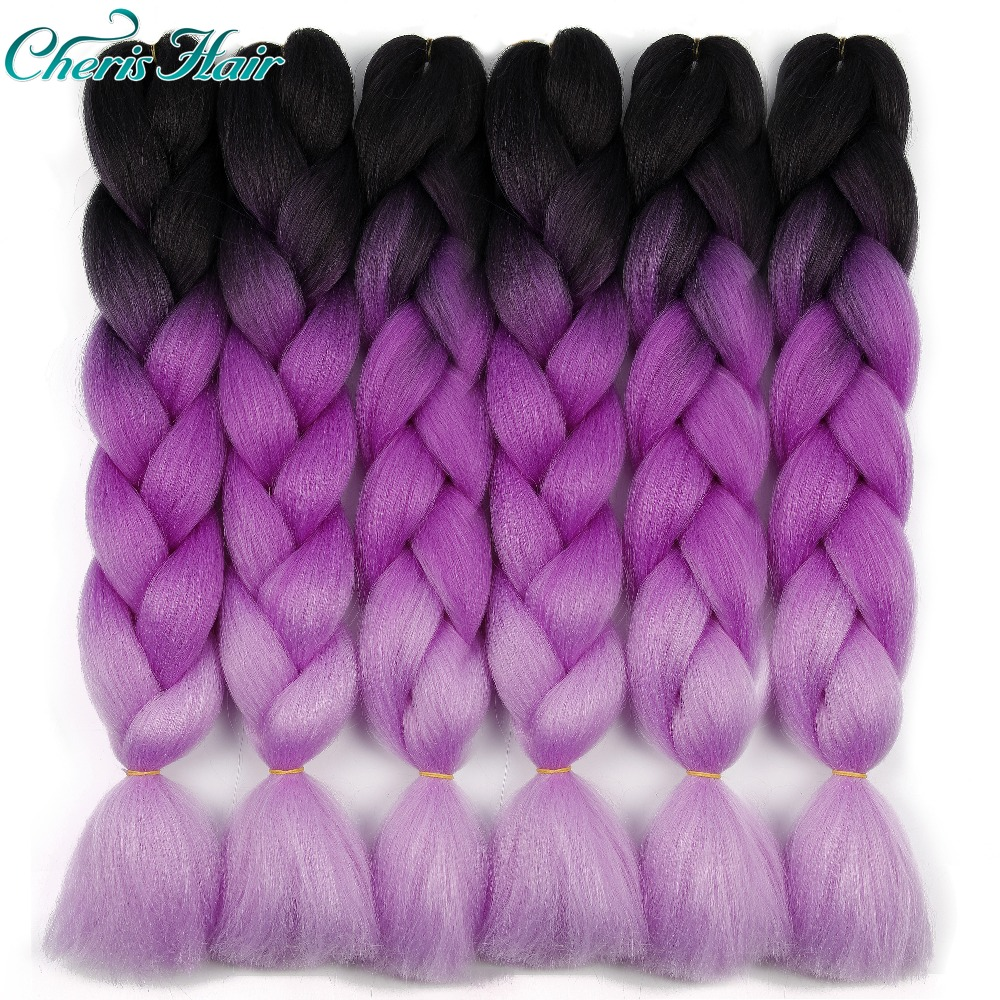 Hair Synthetic Jumbo Braids Ombre Braiding Hair Box Braid Hair Pink Purple Green Grey Yellow Golden Xpression Braids