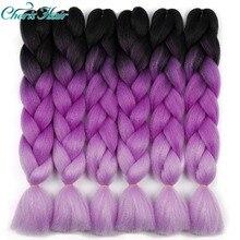 hair Synthetic Jumbo Braids Ombre Braiding Hair Box Braid Pink Purple Green Grey Yellow Golden Xpression