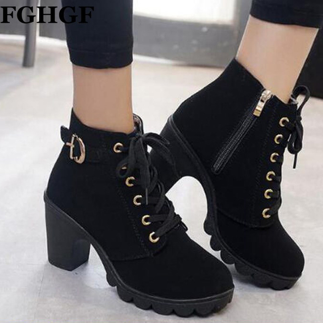 bc33cc8022b05 Women Ankle Boots Platform High Heels Lace Up Buckle Strap Shoes Thick Heel  Short Boot Ladies Zipper Footwear Martin Booties Y38