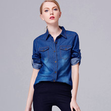 2017 New Denim Shirt Women Long Sleeve Turn-down Collar Blouse Shirts Female Blue Jean Shirt Fashion Female Clothes
