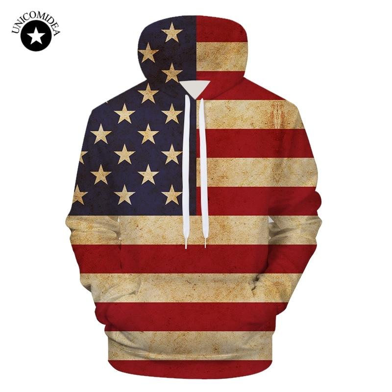 Mens Hoodies Vintage Barber Shop Flag Full Print Sweatshirt Pullover Jackets Hooded