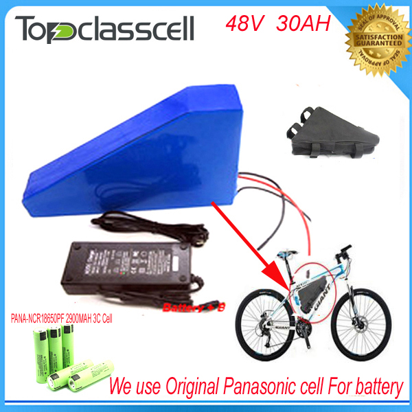 Free customs taxe triangle lithium battery 48V 30Ah electric bike battery 48V 2000W electric scooter battery For Panasonic cell free customs taxes super power 1000w 48v li ion battery pack with 30a bms 48v 15ah lithium battery pack for panasonic cell