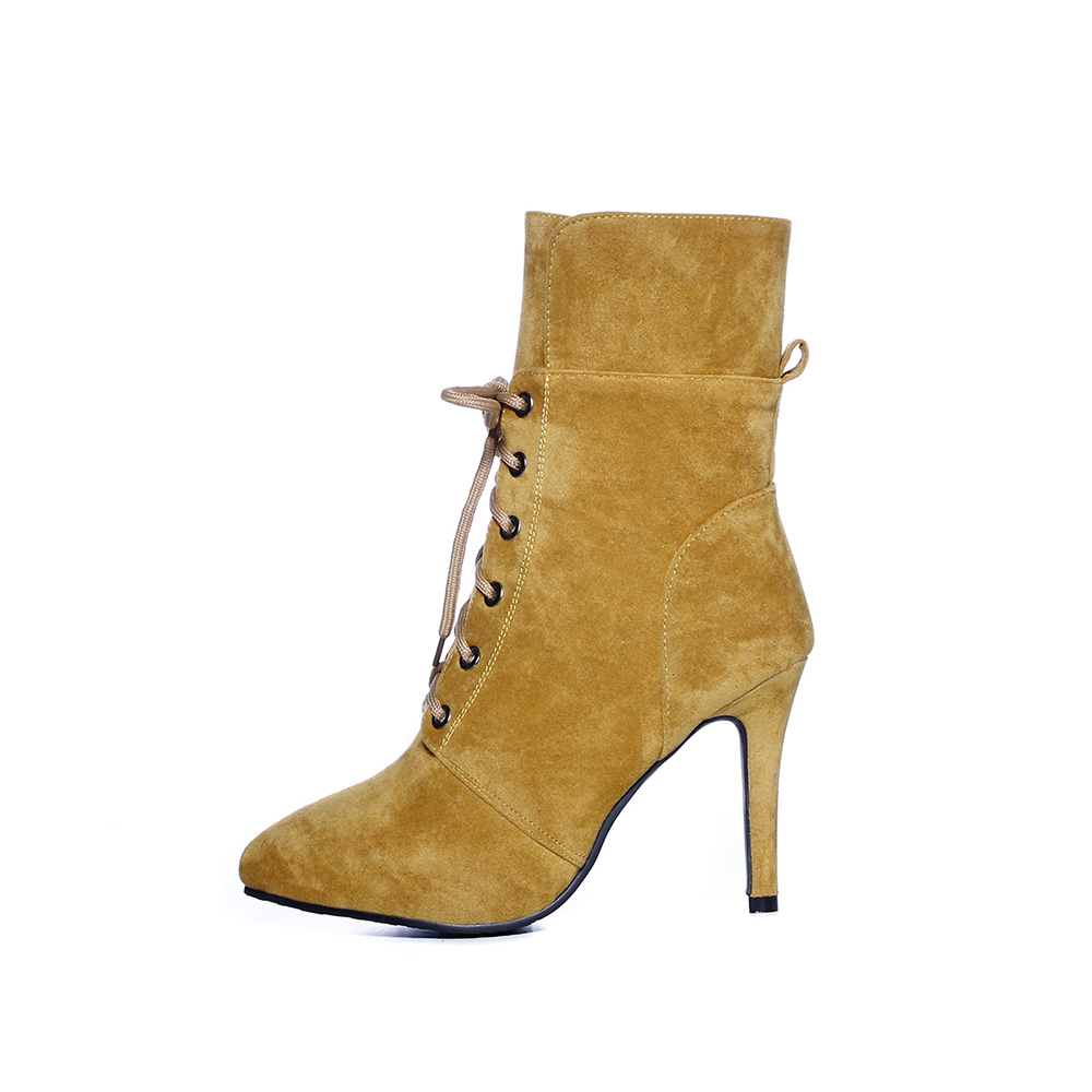 Brand New Winter Sexy Red Gray Women Ankle Riding Boots Comfortable Super Spike High Heel Lady Nude Shoes EHB31 Plus Big Size 43