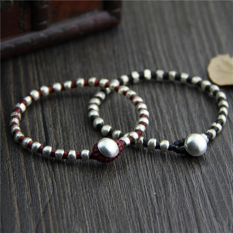 Handmade Thai Silver Beads Bracelet Pure Silver Beaded Bracelet Bohemia Rope Silver Beads Bracelet