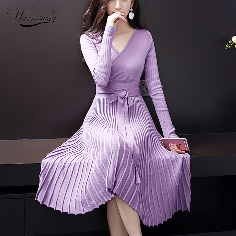 European Design Elegant Autumn Dress V-neck Women Casual Long Sleeve Knitted Dress Brand Fashion Pleated Ladies Dreses C-140 ...
