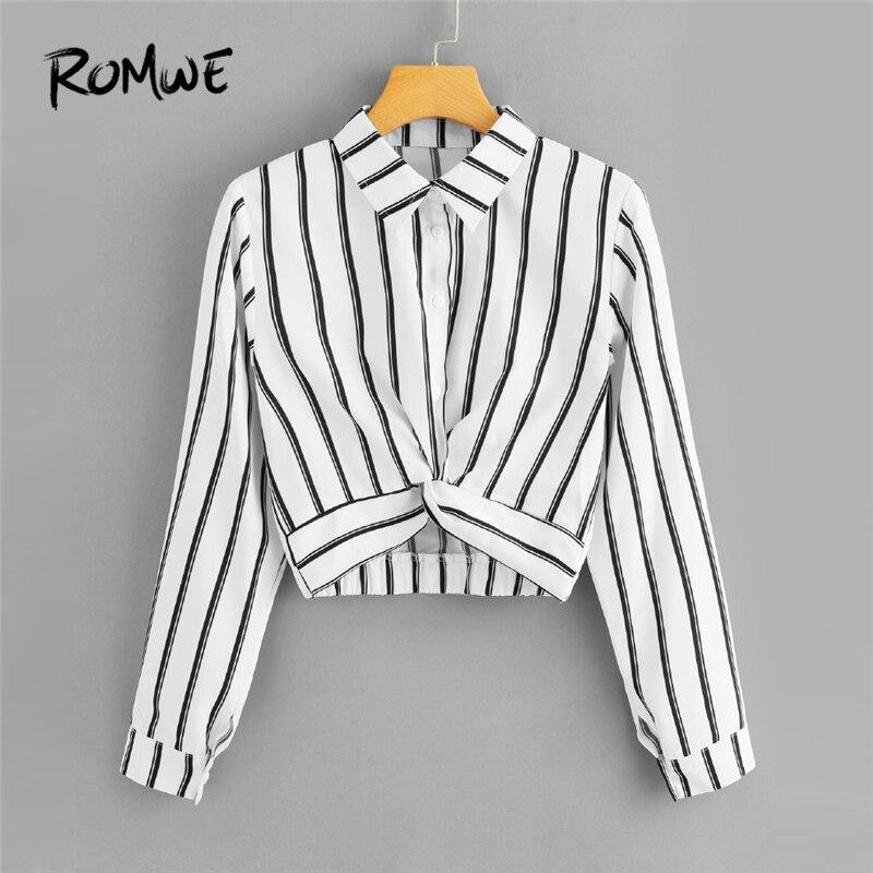 ROMWE Frauen Tops und Blusen Langarm Damen Casual Crop Top Halbe Knopfleiste Weibliche Shirts Sommer Twist Front Gestreiften Bluse