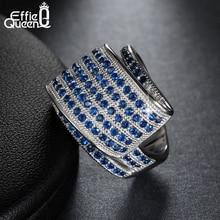 Effie Reina de la Nueva Llegada Unique 114 Micro Pavimenta el Anillo Del Dedo de Circón Azul Del Banquete de Boda Elegante Joyería de Moda DAR033