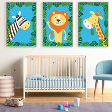 Bianche Wall Kawaii Jungle Animal Cartoon Modern Canvas Painting Art Print Poster Picture Paintings Children Bedroom Decor