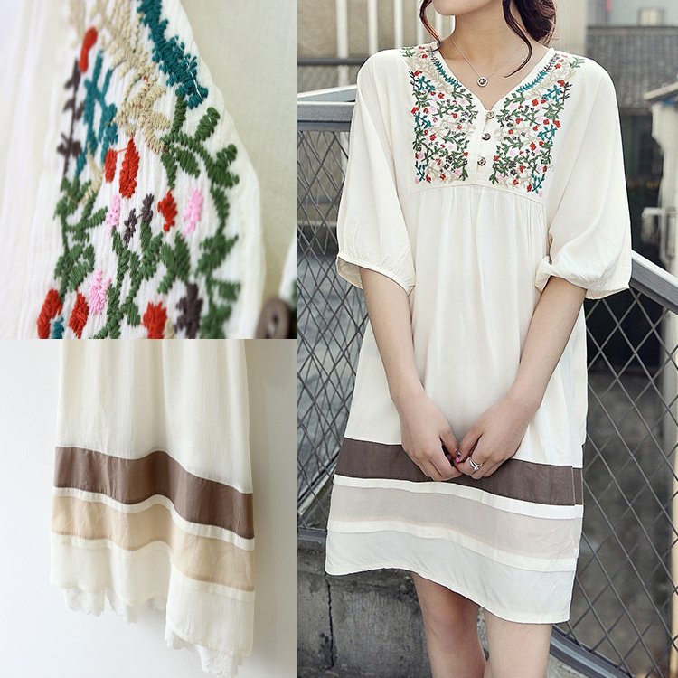 New Mori Girl Vintage 70s Peasant Embroidered Mexican Dress Mini ...
