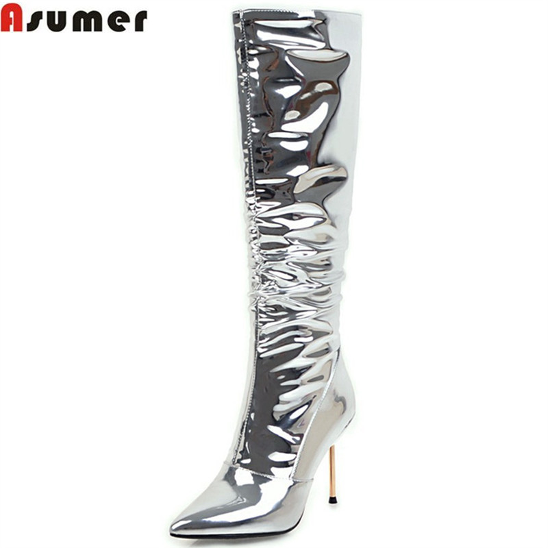 ASUMER 2018 fashion women boots pointed toe zipper silvery ladies boots sexy super high thin heel knee high boots big size 32-43 пуловер quelle rick cardona by heine 14480