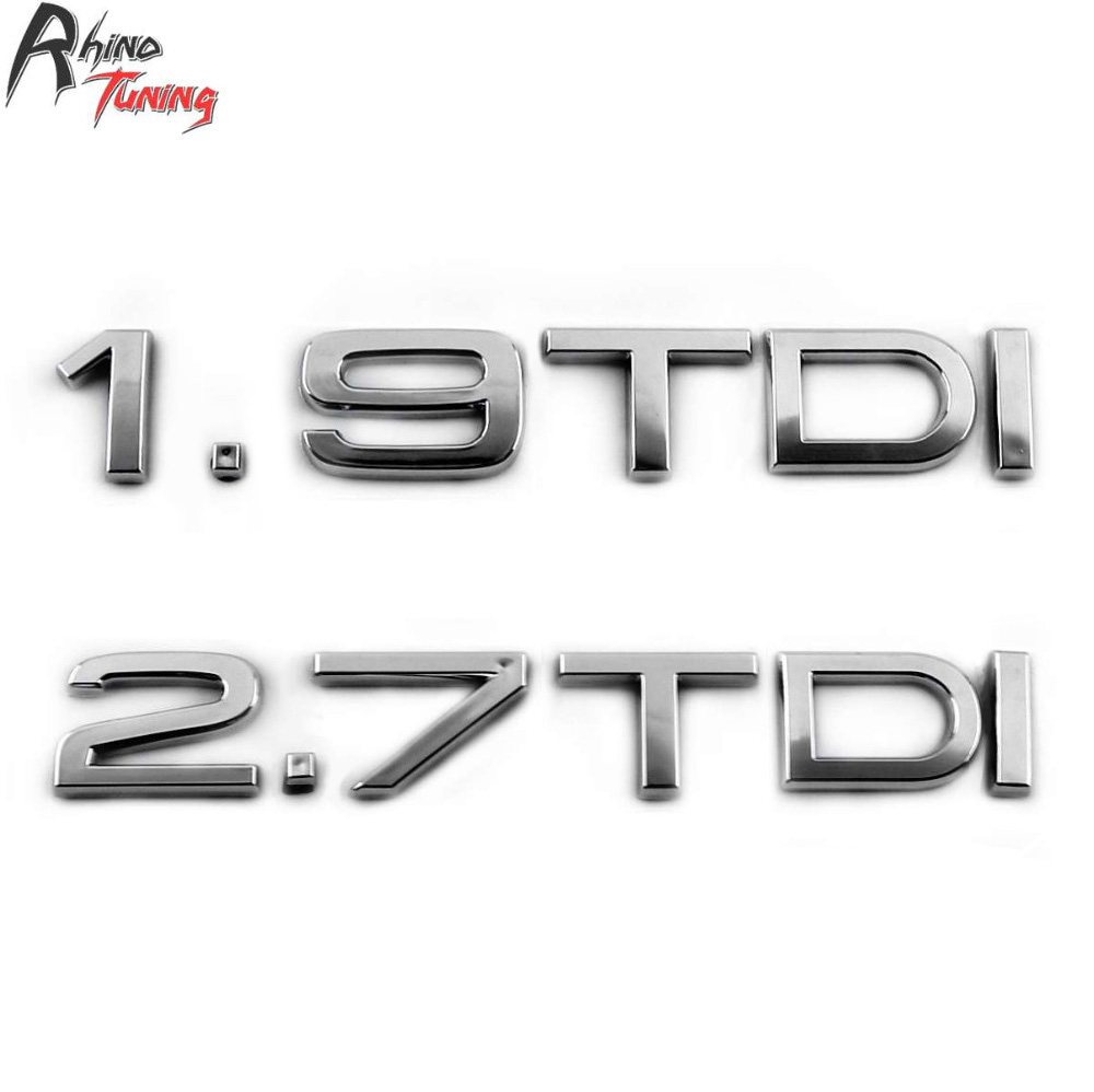 Rhino Tuning 1.9 TDI Car Emblem 2.7 TDI Auto Styling Badge Turbo Direct Injection ABS Sticker For A3 A6 A6L 2010 20689 rhino tuning 5pcs autobiography ultimate edition aluminum sticker badge emblem car auto styling fit defender range 108