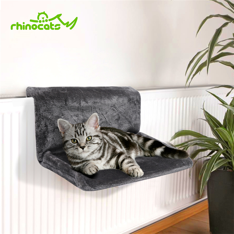 Rhinocats Cat Hammock Cage Radiator Window Bed Lounger Bearings Cushion Cama Gato Adjustable Warm Shelf Seat House For Pet Cats