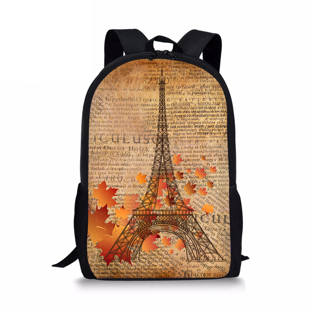 487d595cfd Customized School Bags Chidlren Primary Books Vintage Eiffel Tower Printed  Middle Backpack Girls Grade 6 to