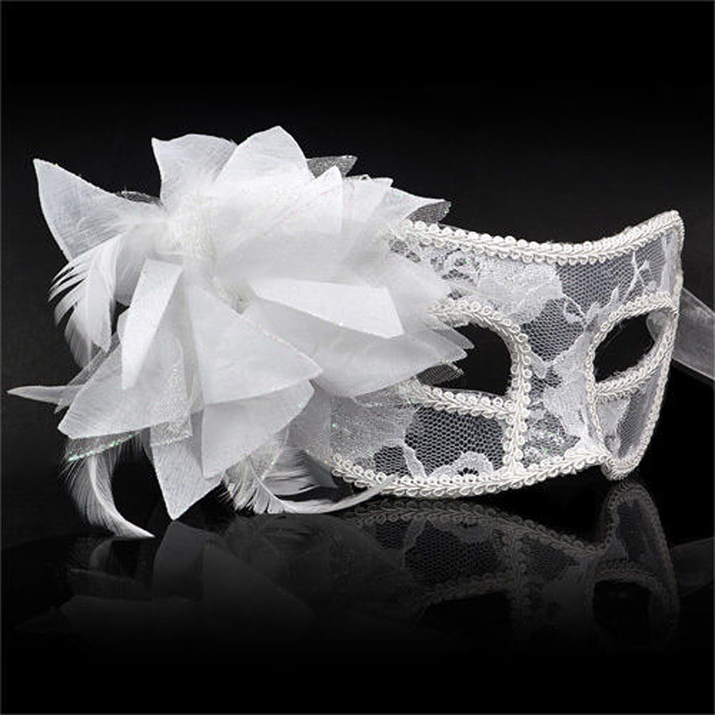 Venetian Party Eye Mask Feather Lace Flower Masquerade Ball Carnival Fancy Dress (white)