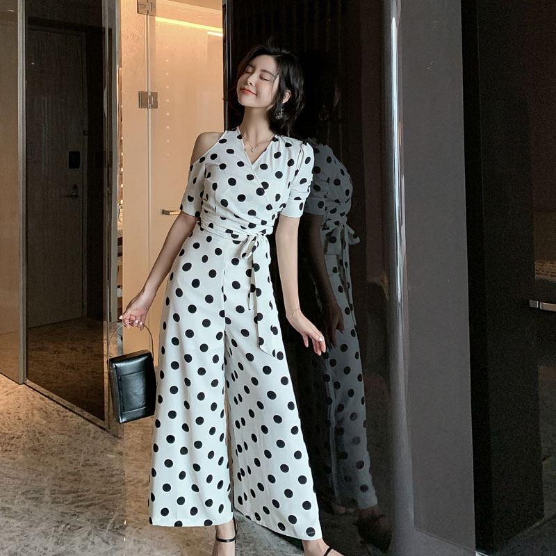 Summer Dot Print Casual Office Suits For Women 2 Pieces Set Sashes Short Sleeve Shirt Tops And Wide Leg Pants Suit Workwear Set